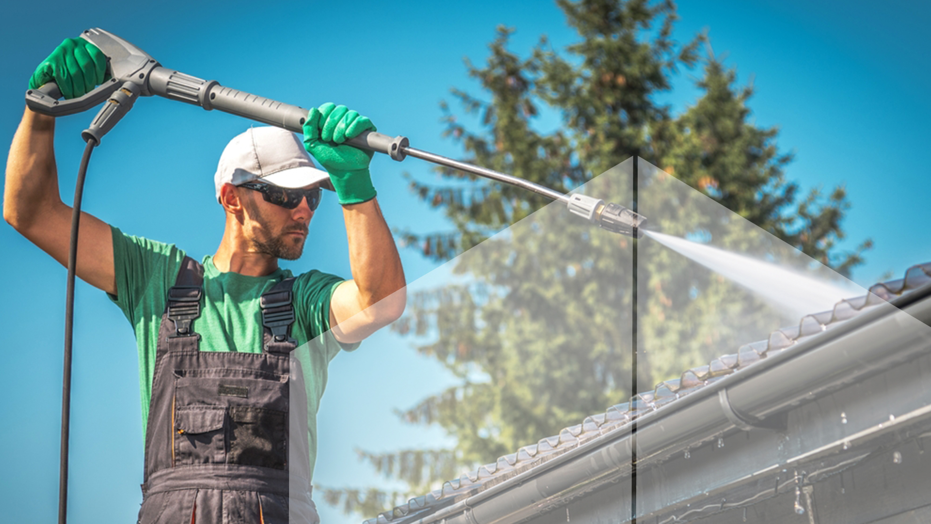 Pressure washing a roof to clean it and gutter cleaning